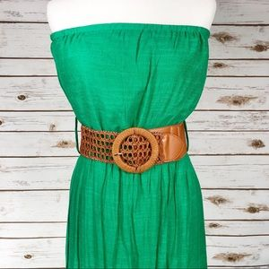 Love Culture Green Maxi Dress with Brown Belt